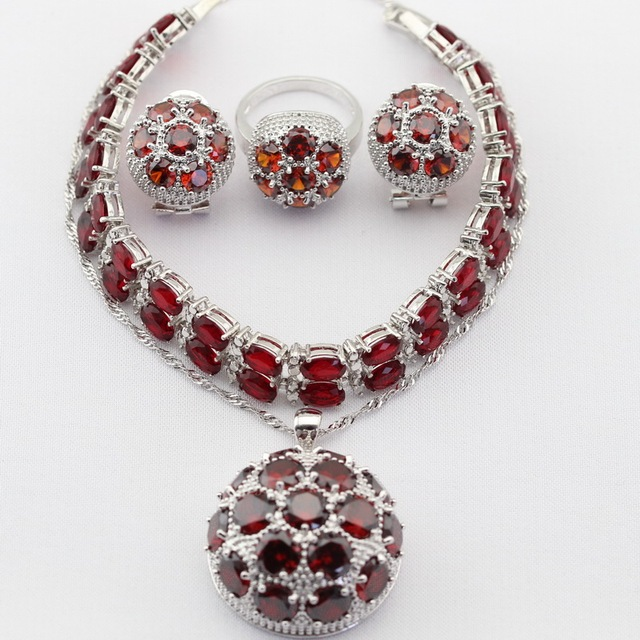 Round Silver Color Women Jewelry Sets Created Red Garnet White CZ Necklace Pendant Earrings Rings Bracelet Merry Christmas Gift
