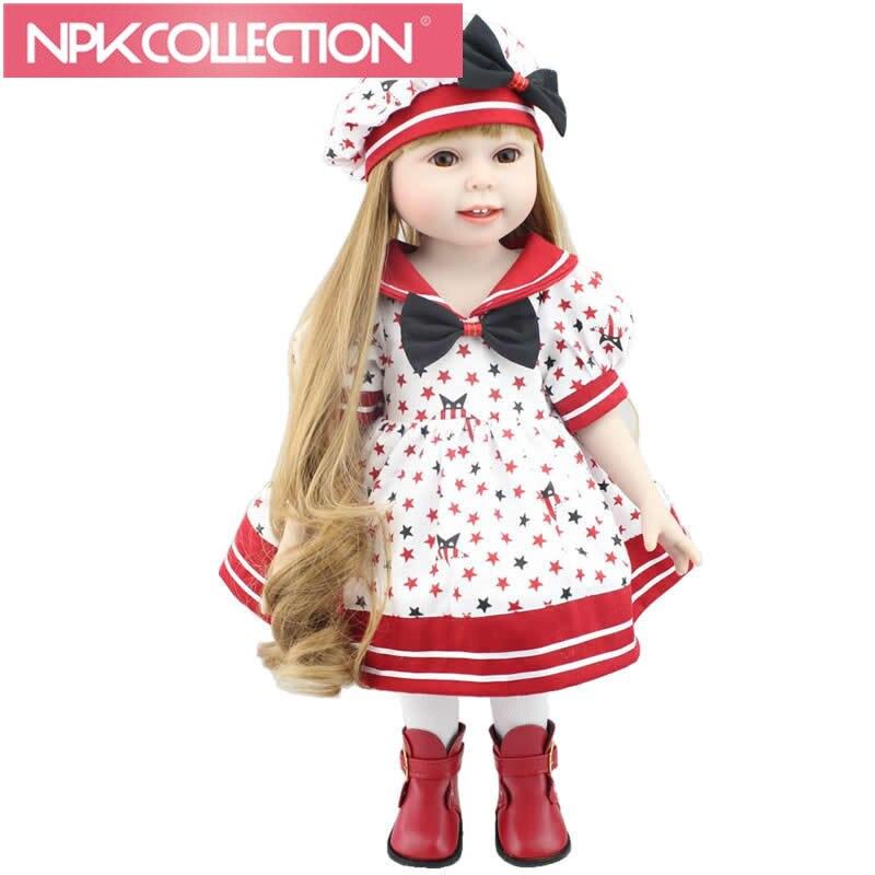 18 Inch /45cm Brand Doll Newborn Baby Toy Handmade American Girl Full Vinyl Babies Doll Lifesize Fashion Doll D56 N256-7 18 inch lovely american girl princess doll baby toy doll with fashion designed dress journey girl doll alexander doll