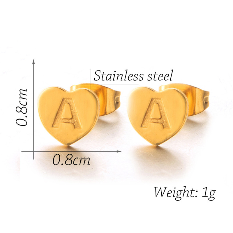New Fashion Cute Heart 26 Letter Gold stainless steel Stud Earring Set Minimalist Earring for Women Gift Jewelry Wholesale 2019 3