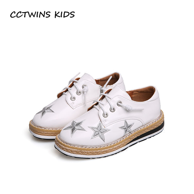 CCTWINS KIDS 2018 Spring Children Pu Leather Platform Baby Girl Fashion Lace Up Shoe Toddler Black White Casual Shoe G1647 black lace up pu obi belt