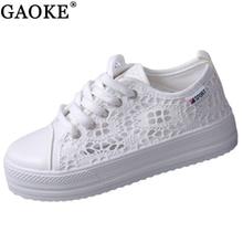 GAOKE Summer Women Shoes Casual Cutouts Lace Canvas Shoes Hollow Floral Breathable Platform Flat Shoe sapato feminino