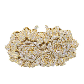 BEAU-Dazzling Women Gold Rose Flower Hollow Out Crystal Evening Metal Clutches Small Minaudiere Handbag Purse Wedding Box Clut