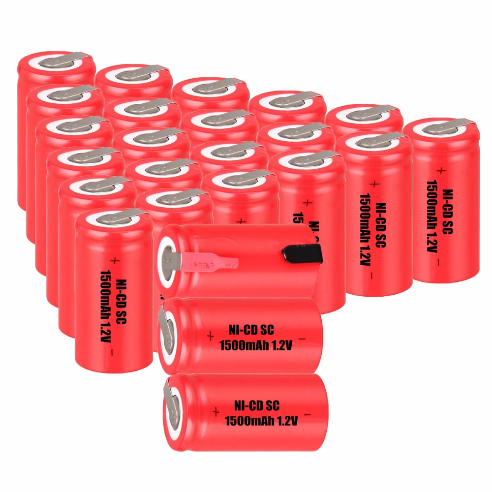 24 pcs SC <font><b>1500mah</b></font> <font><b>1.2v</b></font> <font><b>battery</b></font> <font><b>NICD</b></font> rechargeable <font><b>batteries</b></font> for electric screwdrivers 4.25cm*2.2cm batteria power tools image
