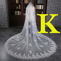 Luxuries 3 Meter Cathedral Wedding Veils 300*300cm Long Lace Edge Bridal Veil Wedding Accessories Bride Mantilla Wedding Veil