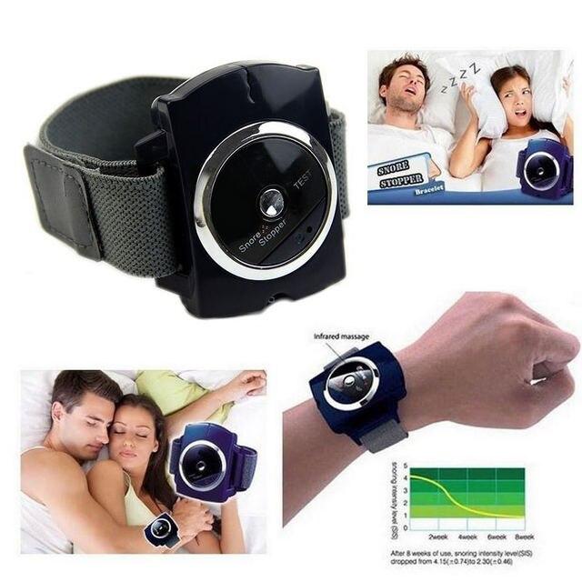 Mayitr 1 pc Snore Blocker tapón infrarrojo dejar de roncar pulsera ayuda sleeplesness para herramientas de cuidado de la salud