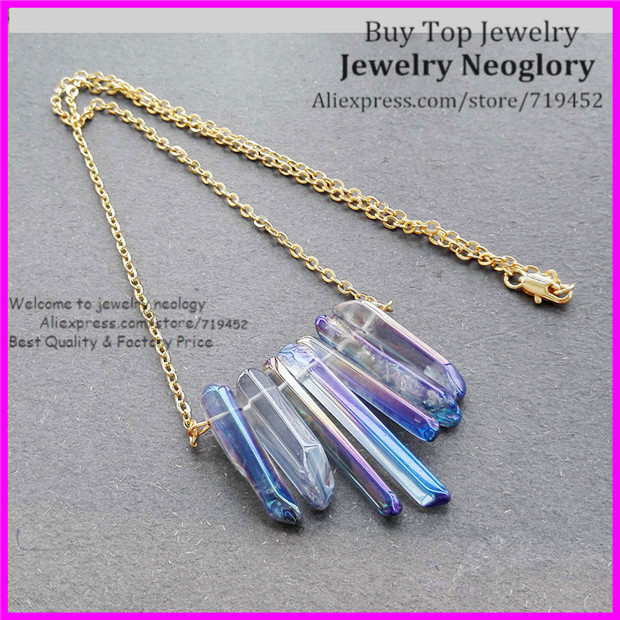 5pcs Polished Blue Rainbow Titanium Aura Cryatal Quartz Spike Necklace Druzy Point Arrow Boho Gems with Gold Brass Chain(China)