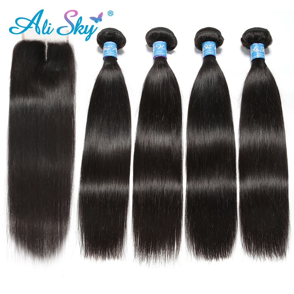 Alisky Hair Brazilian Straight 4 Bundles With 1pcs Top Lace Closure 100% Human Hair Weaves Remy Black 1b No Tangle No Shedding