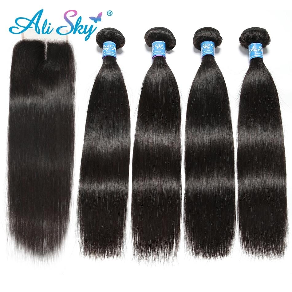 Alisky Hair Brazilian Straight 4 Bundles With 1pcs Top Lace Closure 100% Human Hair Weaves Remy Black 1b No Tangle No Shedding