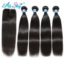 Alisky Hair Brazilian Straight 4 Bundles With 1pcs Top Lace Closure 100% Human Hair Weaves Remy Black 1b No Tangle No Shedding(China)
