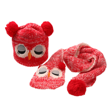 Winter Baby Kids Boy Girls Solid Caps Scarf Warm Cotton Wool Knitted Cute Owl Hat+Beanie Scarf 2pcs/Set Children Neck Warmer Cap
