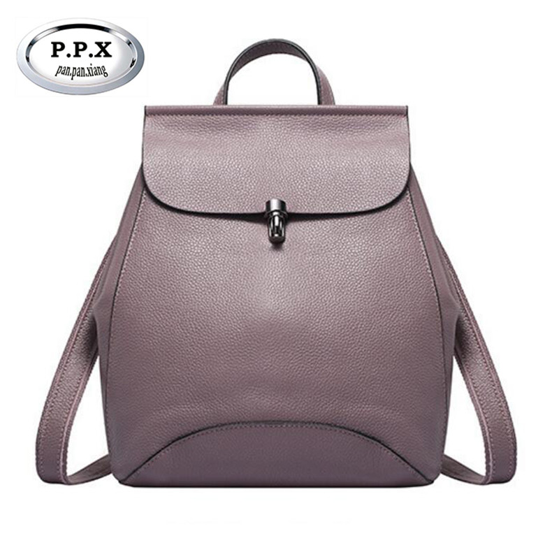 P.P.X Brand High Quality Cow Leather Women Backpack Vintage Backpack For Teenage Girls Casual Bags Female Shoulder Bags M520 5pcs silver plated rca female jack terminal amplifier audio connector red