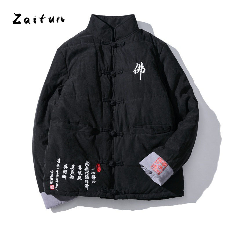 ZAITUN Winter Warm Men Parkas Chinese Writing Embroidery Traditional Style Mandarin Collar Cotton Thick Casual Brand Jacket Coat