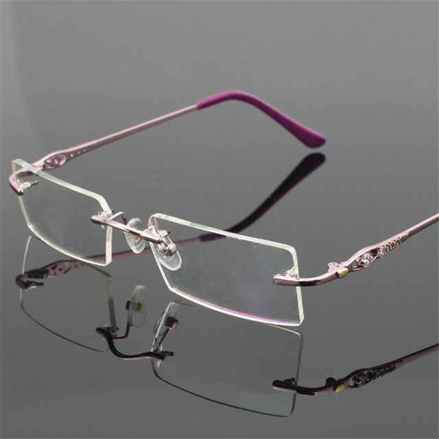 f78105731c Fashion High-end Ultralight Rimless Glasses Frames for Women Frameless Nearsighted  glasses Female Myopia Eyeglasses