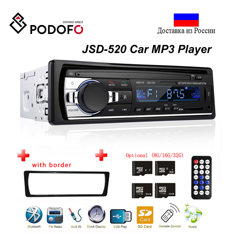 Podofo Radio Car Autoradio 1 Din Bluetooth SD MP3 Player Coche Estereo Poste Para Auto Audio Stereo Carro Samochodowe Automotivo image