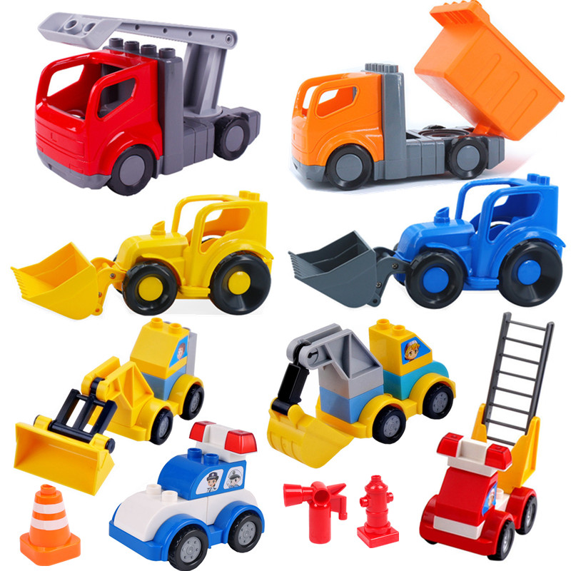 Excavator Ladder Fire Truck Accessories Building Blocks Educational Toys For Children Compatible With Duploed Baby Toy Kids Gift