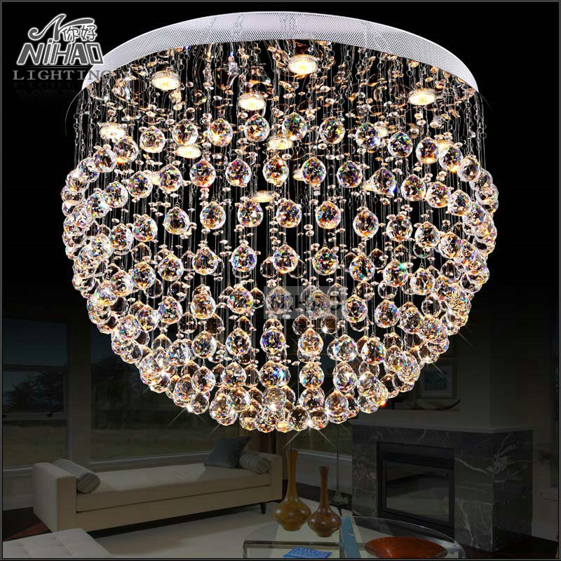 Modern Crystal Chandelier Light Fixture Round Lamp Flush Mounted chandelier lighting Dining Fitting
