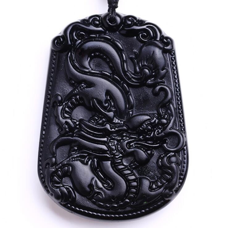 Natural Black Carved Chinese Dragon Obsidian Amulet Necklace Pendants Fine For Women -6251