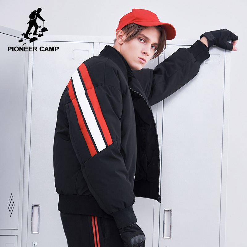 Pioneer camp new winter warm   down   jackets men brand clothing short style patchwork   down   parkas for men thick   coat   men AYR801407