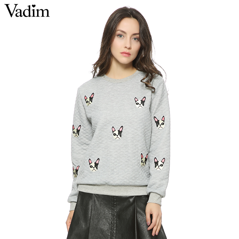 Women cute dog pattern patches pullovers autumn style long for Long sweaters and shirts