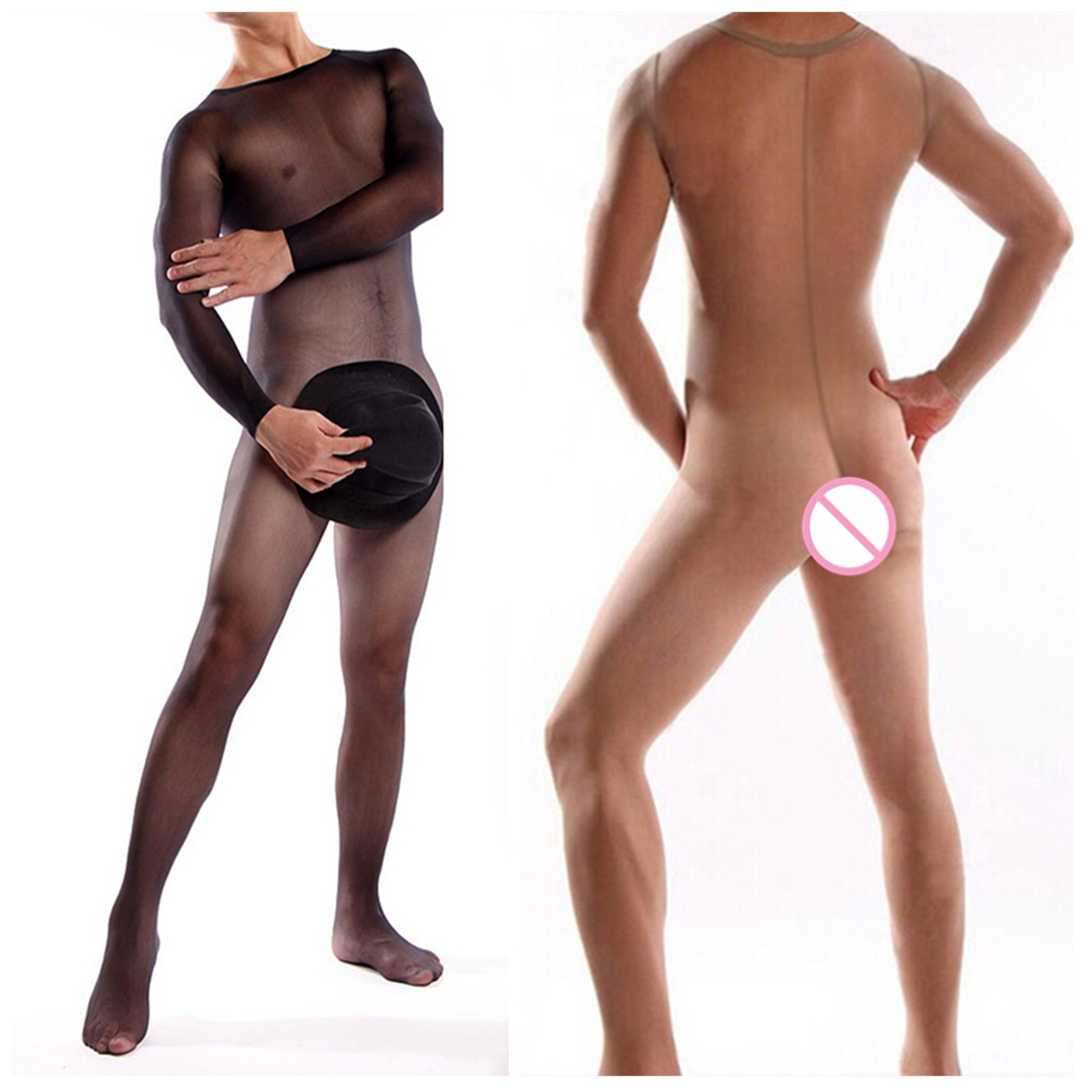 Sexy Men Bodysuit Silky Temptation Full Body Plus Size Exotic Body Stocking For Men Bodysuit Sexy Gay Men's Bodystocking