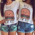 2015 New Fashion Women crop top Summer casual Tees Food Hamburger Print Cartoon Cute Women's t-shirt Free Shipping 38