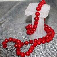 Giá bán buôn red nhân tạo coral 12 mét vòng hạt vòng cổ cho phụ nữ xích long quà tặng thời trang diy jewelry 36 inch B2920