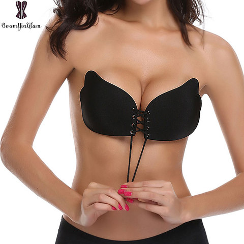 Free Shipping Pink Invisible Bra Super Push Up Seamless Self-Adhesive Sticky Front Strapless Fly Bra For Wedding Party 9001 Lahore