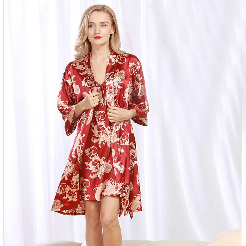 2 шт сексуальные женские ночные халаты наборы кимоно атласные шелковые женские красные банные халаты Twinset халаты подружек невесты
