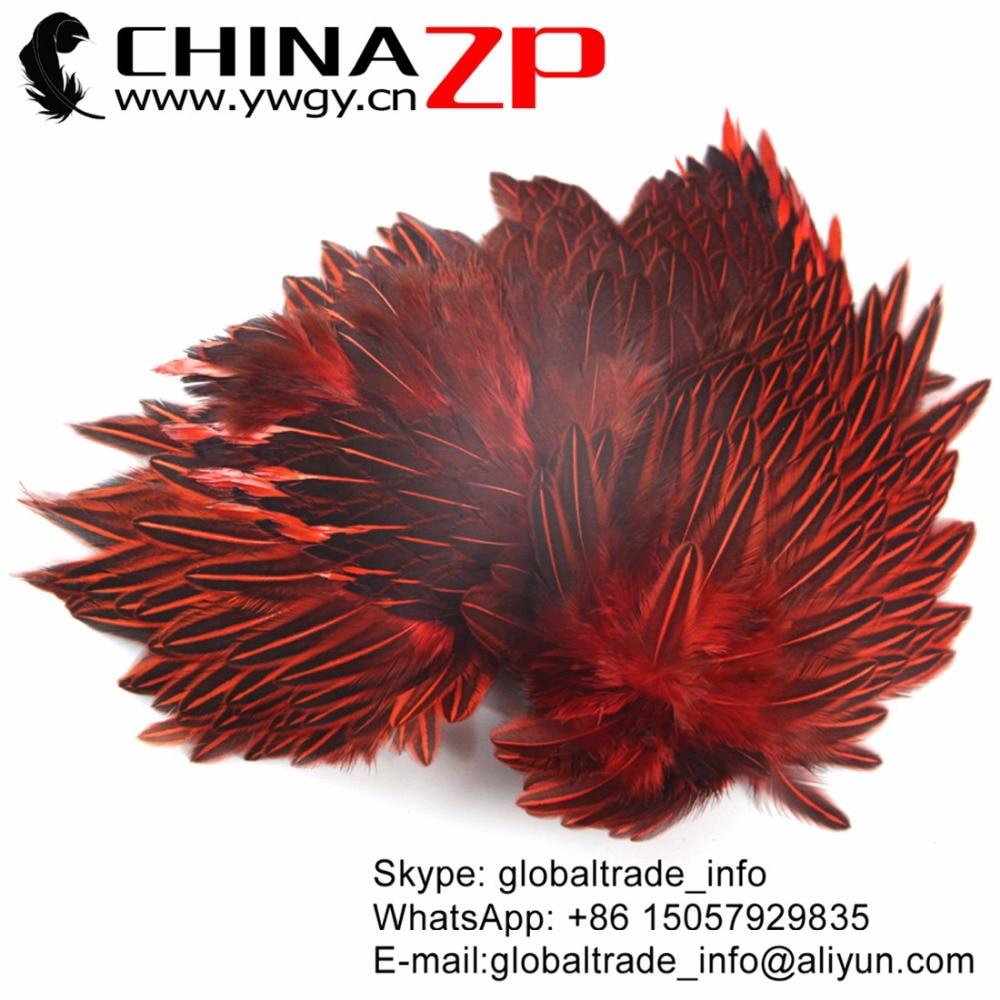 CHINAZP en gros plumes indiennes nouveau Design première qualité rouge teint Jungle coq Cape peau complète peau peau avec plume à vendre