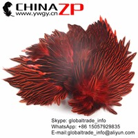 CHINAZP Wholesale Indian Feathers New Design Prime Quality Red Dyed Jungle Cock Cape Complete Skin Pelt With Feather for Sale