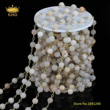 5meters 6mm Matted Aventurine Round Beads Chains,Frosted Pink White Aventurine Plated Brass Links Chains Chokers Findings ZJ159 фото