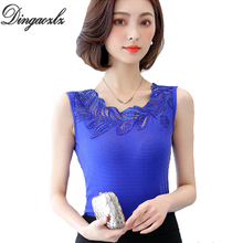 3f37a86b818 Dingaozlz Fashion Women Tops Blusas Plus size diamond Lace blouse shirt  Sleeveless Patchwork Summer shirts 5XL