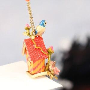 Image 5 - Saftig Traube Französisch Stil Emaille Glasur Vergoldeten Lange Halskette Blau Titten Liebe Vögel Pullover Kette Frauen Zubehör