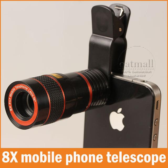 Nueva Universal de 8X de Zoom De La Cámara Lente Del Telescopio Del Teléfono Móvil para el iphone Samsung shutterbug necesario Óctuple Lupa Clip Fijo