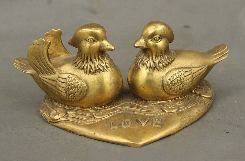 6 China Folk Brass Animal mandarin duck Aix galericulata Lucky Love Bird Statue6 China Folk Brass Animal mandarin duck Aix galericulata Lucky Love Bird Statue