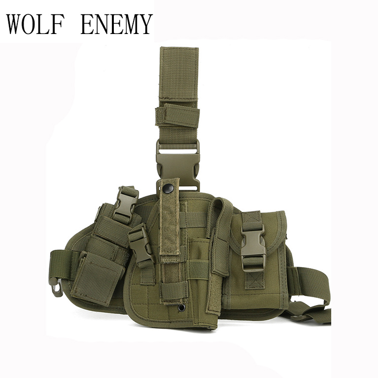 Army Tactical Universal Adjustable Hunting Pistol Molle Drop Leg Stickers Design Nylon Platform Panel W/Pistol Holster Bag Pou pistol holster bag molle leg panel nylon pistol holster - title=