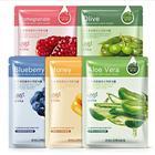 60pcs Sheet Mask Moisturizing Whitening Natural Skin Care Facial Mask Aloe Vera Cucumber Honey Pomegranate Olives Blueberry