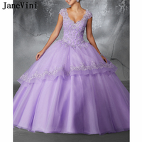 JaneVini Elegant Princess Lilac Quinceanera Dresses Ball Gown 2019 V Neck Appliques Beaded Puffy Organza Dress Vestido Debutante