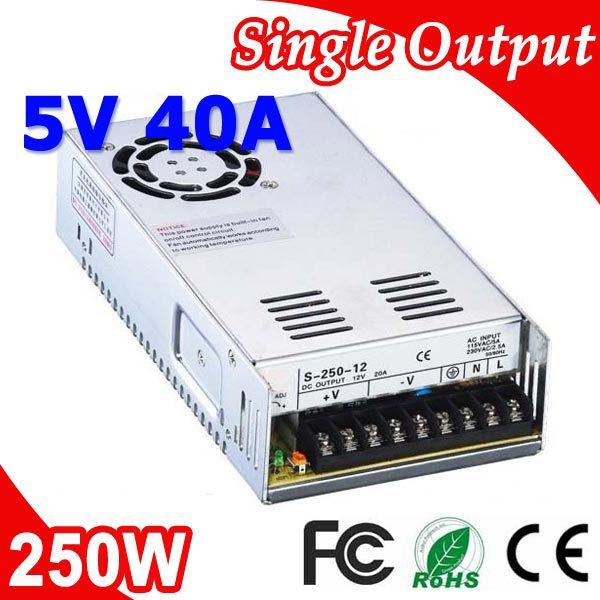 S-250-5 250 W 5 V 40A transformateur commutateur de courant LED 110 V 220 V AC à DC 5 V sortie