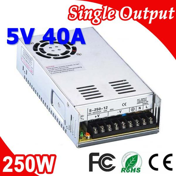 S-250-5 250W 5V 40A Transformer LED Switching Power Supply 110V 220V AC to DC 5V output 1pc graphtec cb09 blade holder 5pcs 45 cb09 blades 5pcs 60 degree cb09 blades for plotter cutter lettering cutting mayitr