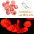 1M 10 LED Battery Powered Pumpkin Paper Lantern Party String Lights Warm White
