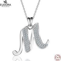 Eudora Speical Projeto Real de 100% 925 Sterling Silver Cristal Pingente Letra M Charme Colares Mulheres Jóias Natal GiftCYD077M