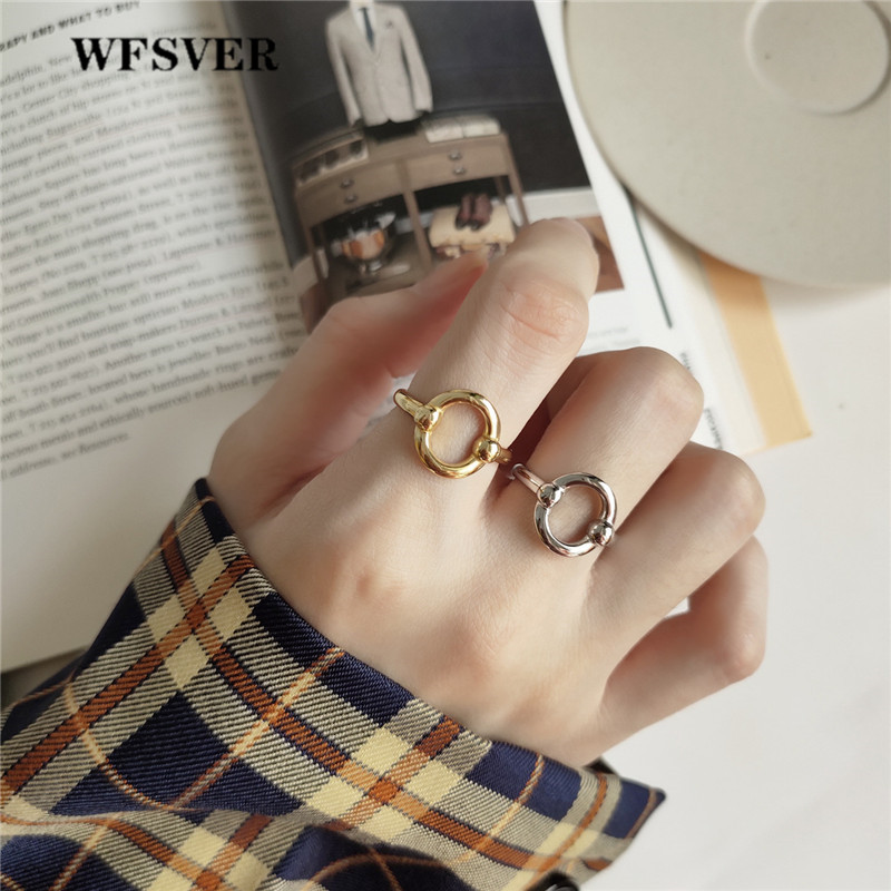 WFSVER 925 sterling silver simple ring for women korea style gold silver color oval ring opening adjustable fine jewelry gift in Rings from Jewelry Accessories