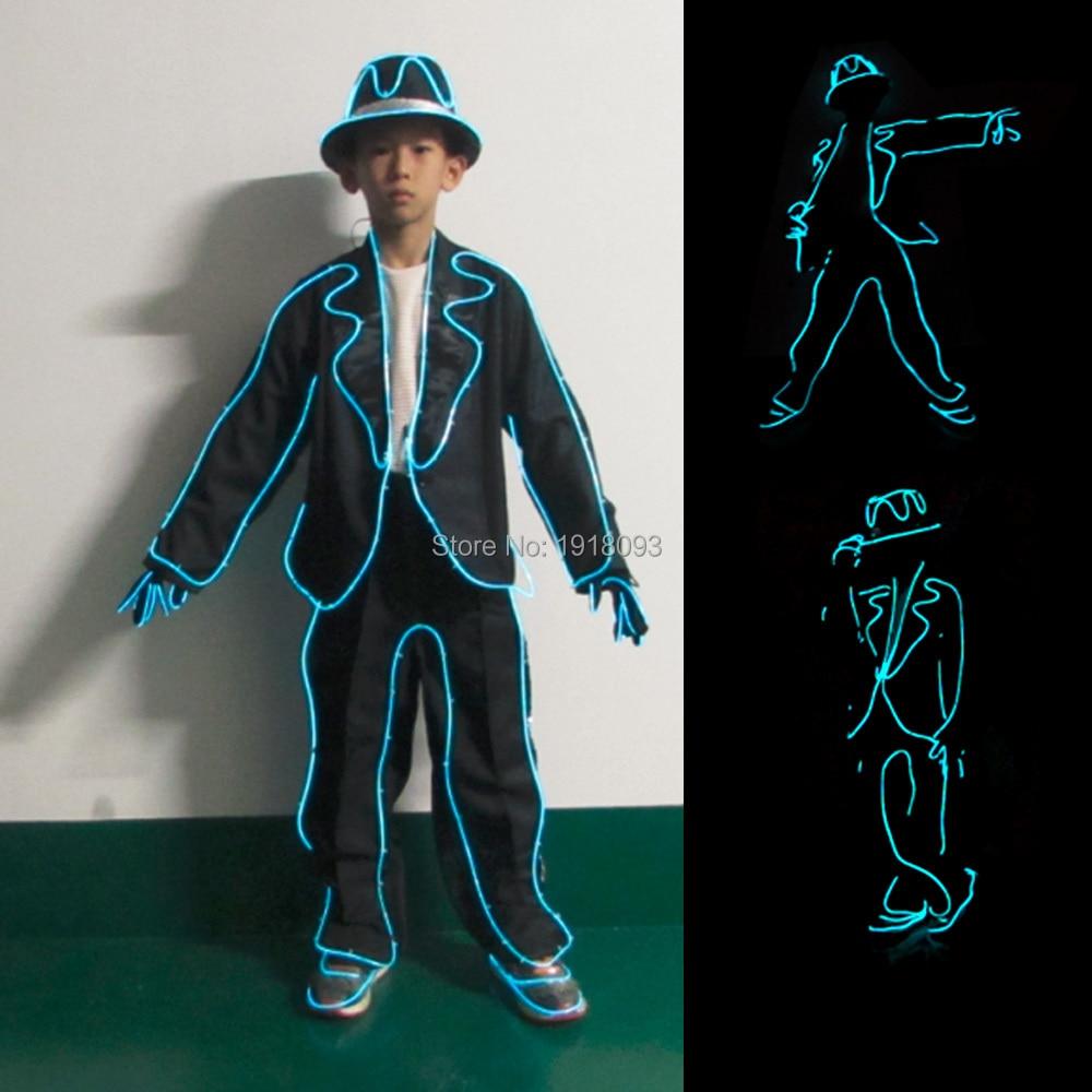 MJ Style for Club Show EL Wire Suits EL Costumes DIY Children Clothing Cool Fashion Talent Show LED Strip Glowing Props julián arango antonio sanint ríase el show barranquilla