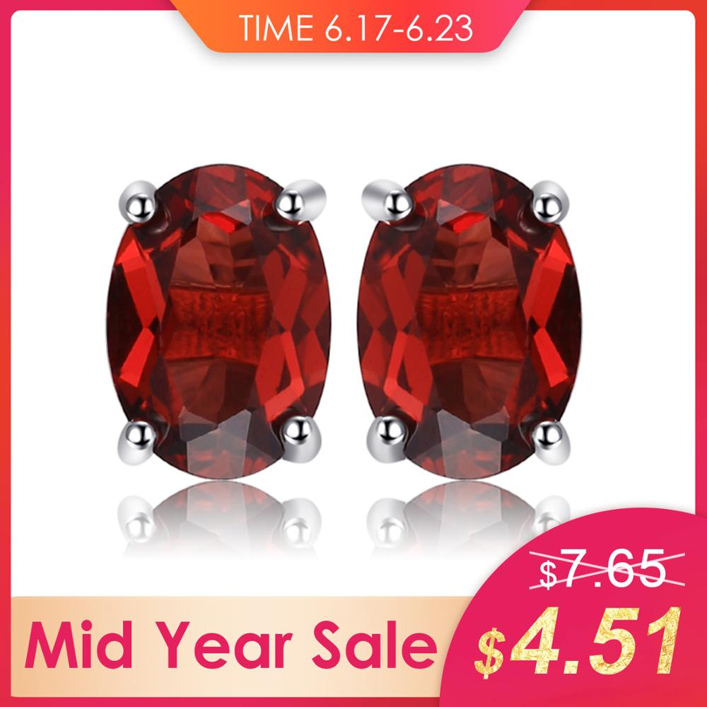 JewelryPalace Oval 2ct Natural Red Garnet Birthstone Stud Earrings Solid 925 Sterling Silver New Fine Jewelry For WomenJewelryPalace Oval 2ct Natural Red Garnet Birthstone Stud Earrings Solid 925 Sterling Silver New Fine Jewelry For Women