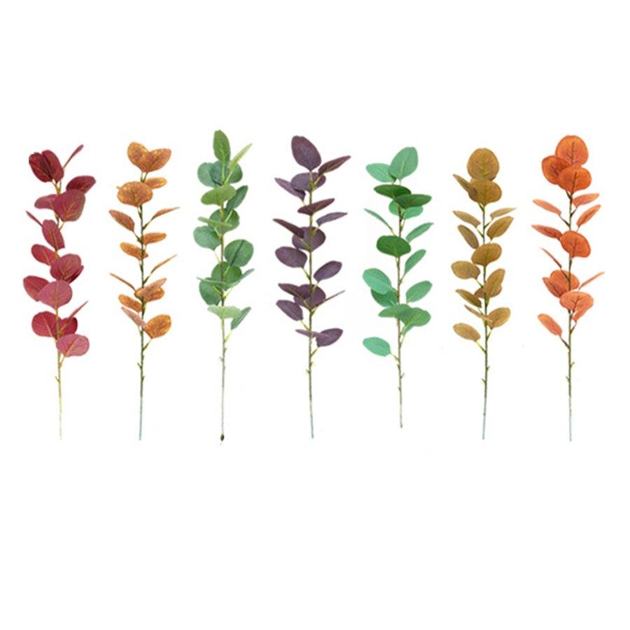 green cheap silk artificial leaves eucalyptus branch diy decoration fake plants for wedding home decor craft supplies foliage