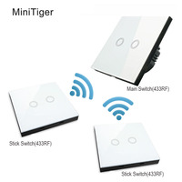 Minitiger EU Standard Touch Switches And Wireless Remote Control RF433Mhz Remote Control Wall Lamp Bulb Remote