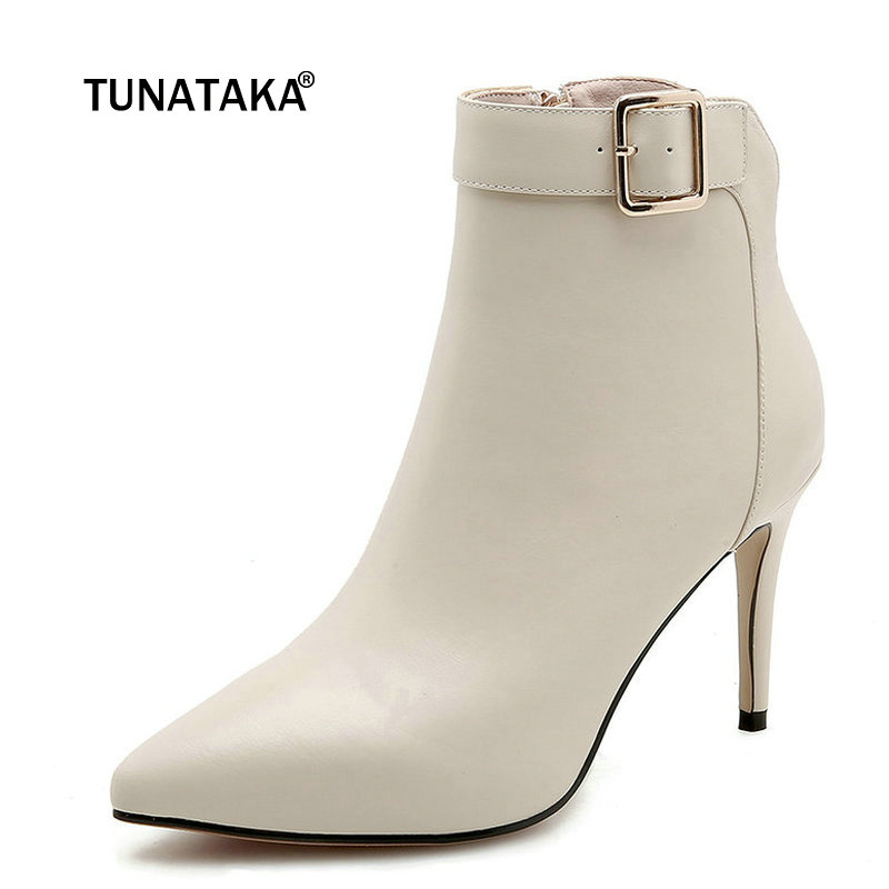 Ladies Genuine Leather Buckle Thin High Heel Ankle Boots Fashion Zipper Pointed Toe Women Fall Winter Bootie Black Beige Gray цена