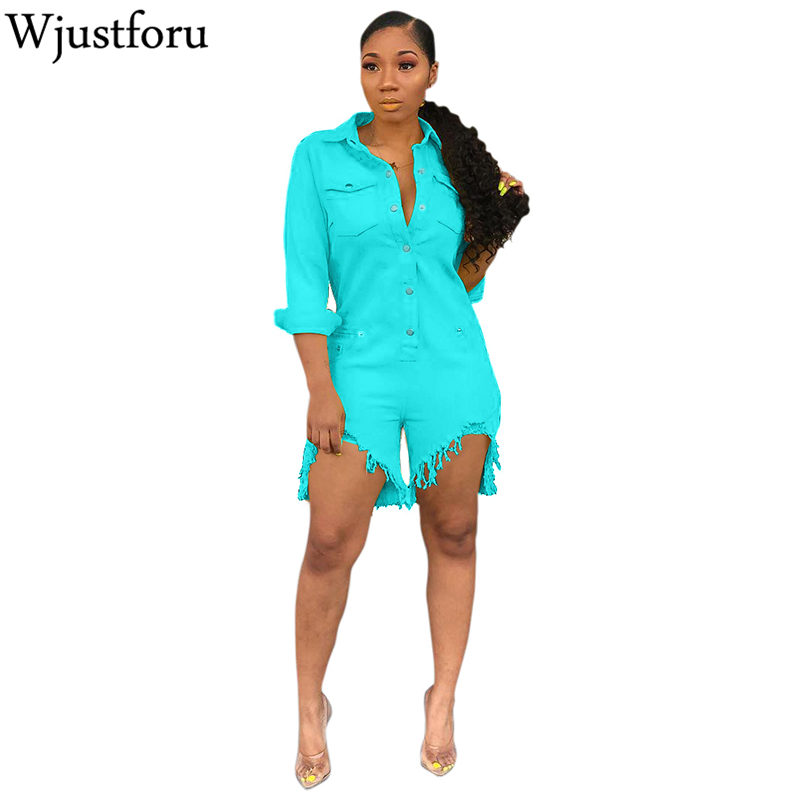 Wjustforu Casual Denim Jumpsuit Women Fashion Long Sleeve Jeans Jumpsuit Vestidos Botton Pure Color Elegant Jumpsuit Slim