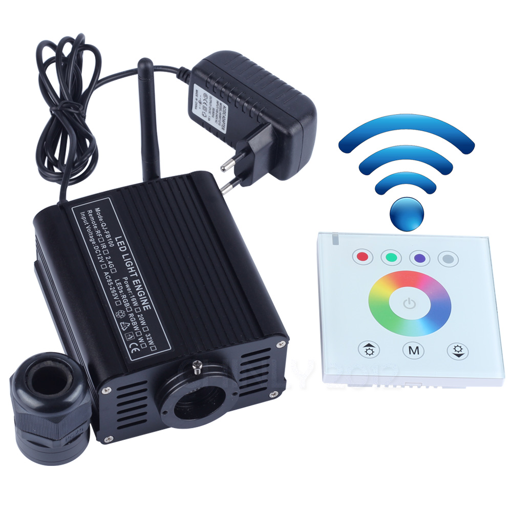RGBW 16W LED Fiber Optic Engine Driver with 2 4G wireless wall switch touch controller for